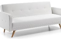 Sofá cama - Sofá en piel sintética blanca o marrón