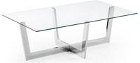 Mesa de centro con pies de acero cromado - Sobremesa en cristal templado transparente.