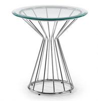 Mesa auxiliar con pies de acero cromado - Sobremesa en cristal templado transparente.