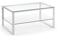 Mesa de centro con pies de acero en pintura epoxy 2 - Sobremesa en cristal templado transparente.