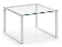 Mesa de centro con pies de acero en pintura epoxy - Sobremesa en cristal templado transparente.