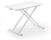 Mesa de centro elevable con pies de acero - Pie epoxy blanco y sobre de cristal blanco