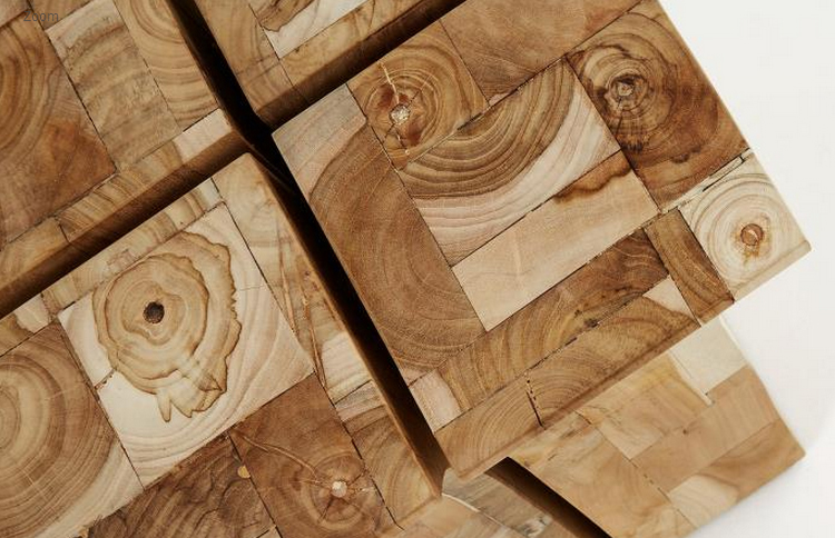 Taburete en mosaicos de madera de teca - Mosaico de madera ...