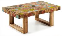 Mesa de centro en mosaicos de madera de teca multicolor - Sobre mosaico madera teca