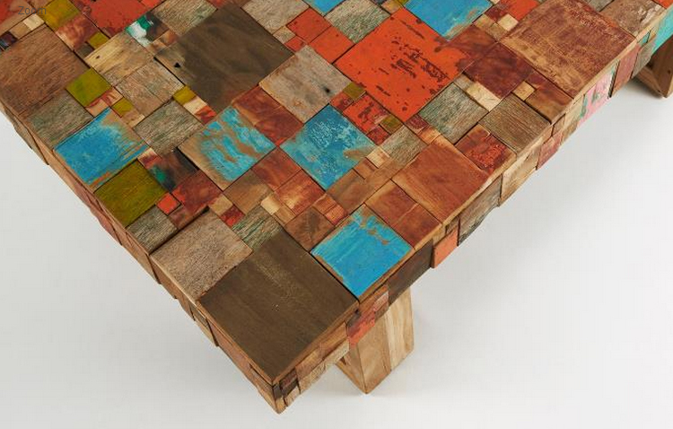 Mesa de centro mosaico madera teca - Mosaico de madera ...