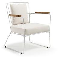 Sill�n con estructura de metal pintada en blanco y reposabrazos de teka natural - Butaca Epoxy Blanco Tejido Beige