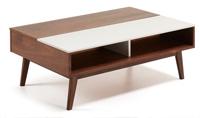 Mesa de centro en madera de nogal americano macizo - Sobre en tablero de fibras de madera lacado mate.