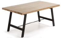 Mesa en madera de acacia maciza en acabado natural blanqueado 2 - Pies en metal pintado envejecido