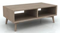 Mesa de centro en madera de acacia maciza en acabado te�ido gris claro - Dise�o moderno