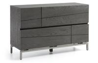 Mesita de noche y aparador de madera gris - Estructuras patas de metal plateado