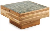 Mesa de centro en madera de teca - Sobre madera reciclada con cristal templado