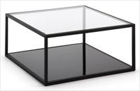Mesa de centro con estructura de acero y sobre de cristal - Disponible en dos tama�os