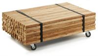 Mesa de centro de madera de Teca natural - Incluye ruedas