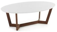 Mesa de centro ovalada con estructura chapada en nogal - Sobre en tablero de fibra de madera lacada mate