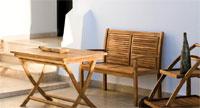 Set banco, mesa y carrito de madera teca PUEBLO