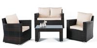 Set de sofá de exterior 2 plazas y sillones, mesa, cojines modelo KEOPPS