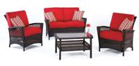 Set de sofá de exterior 2 plazas y sillones, mesa, cojines modelo KOALA