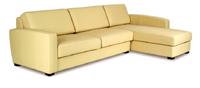 Sofá de piel espesorada color marfil 3 plazas y chaiselong