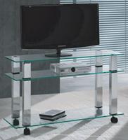 Mesa de TV moderna en cristal - Mesa de TV tope de cristal y patas de metal