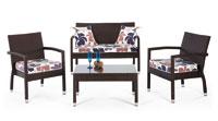 Set de sofá de exterior 2 plazas y dos sillones, mesa, cojines modelo LUBECK