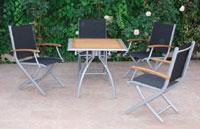 SET-Mesa aluminio y madera plegable 4 sillones