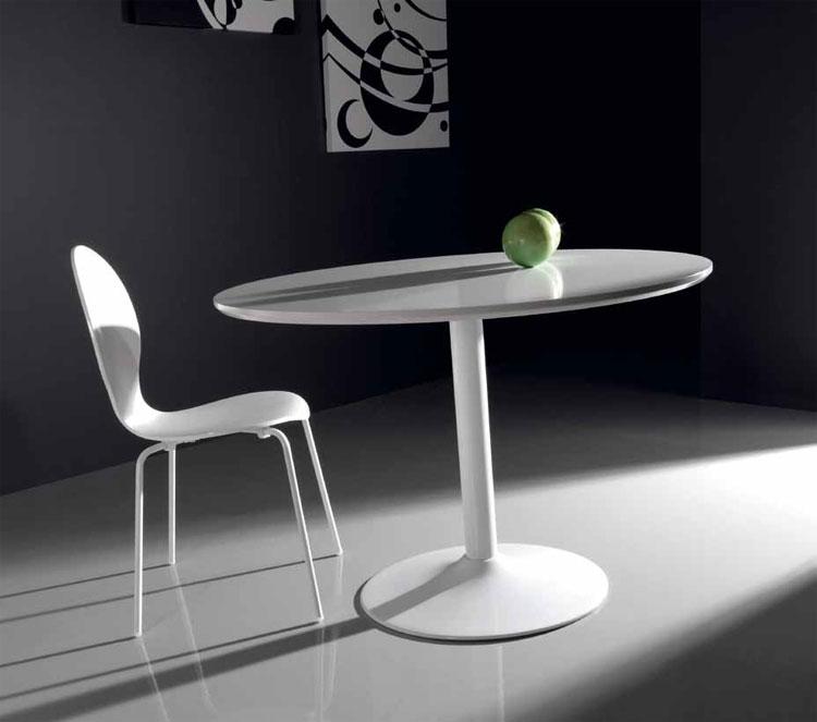 Mesa redonda blanca lacada mesas de comedor muebles de for Mesa redonda blanca