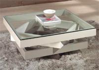 Mesa de sal�n cuadrada - Acabado multicolor crema alto brillo