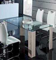 Mesa comedor rectangular cristal templado 2 - Disponible en acabado de Roble