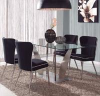 Juego de comedor elegante y moderno - Estructura de acero y sobre de cristal templado