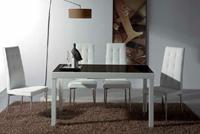 Juego de comedor con mesa extensible cuadrada - Estructura de metal lacado y DM