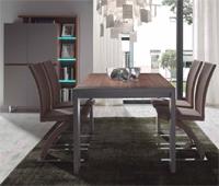 Comedor moderno Nogal - Compuesto por Vitrina, aparador, mesa y sillas