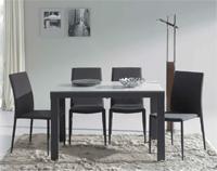 Comedor mesa extensible con sobre de cristal templado - Estructura de metal lacado
