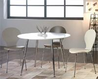 Comedor moderno mesa redonda estructura cromada - Sillas disponibles en 3 acabados distintos