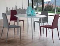 Comedor moderno mesa redonda estructura met�lica - Sillas disponibles en 2 acabados distintos