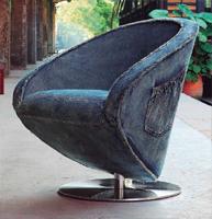Sill�n giratorio - Acabado de acero/Azul envejecido