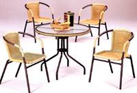SET-MARAGANG-80 Mesa redonda y 4 sillas de exterior