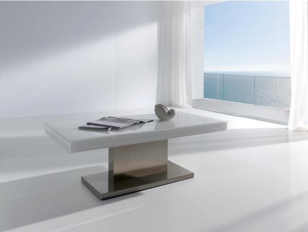 Mesa de centro rectangular elegante mesa de centro con tablero de car interior design - Diseno salon comedor rectangular ...