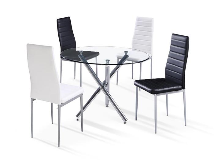Mesa de cristal circular mesa redonda comedor o cocina for Espejo joyero conforama
