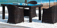 Set sillones y mesa de fibra sintética modelo MEDITERRANEO
