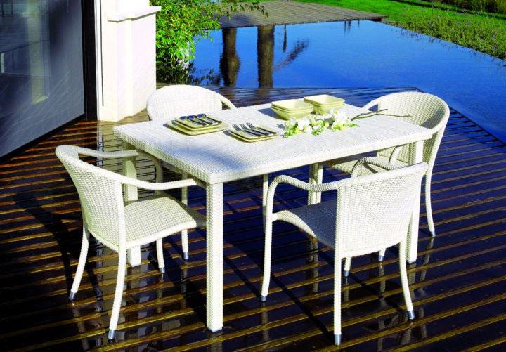 Mesa de rat n para exterior y cristal transparente mesas for Mesa cristal exterior