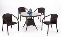 Mesa redonda de jardín modelo Marina y sillones