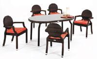 Mesa redonda para exterior de 150 y 4 sillones
