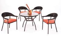 Mesa redonda modelo MURANO de 90 y 4 sillones y cojines