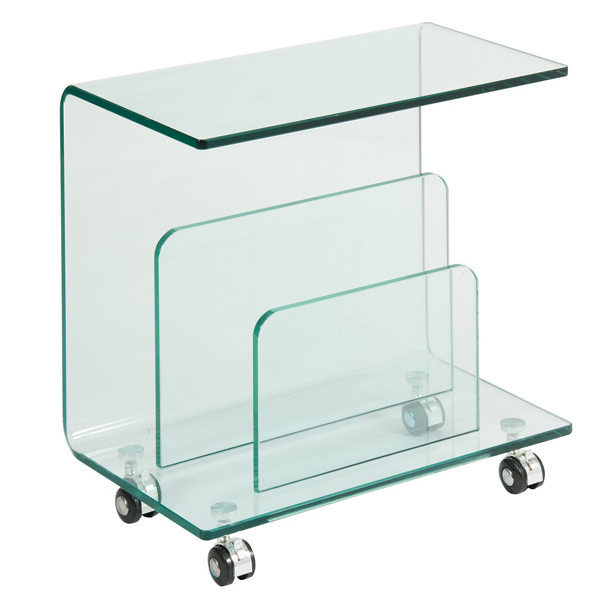 Mesa de cristal transparente lateral revistero for Mesa auxiliar salon cristal