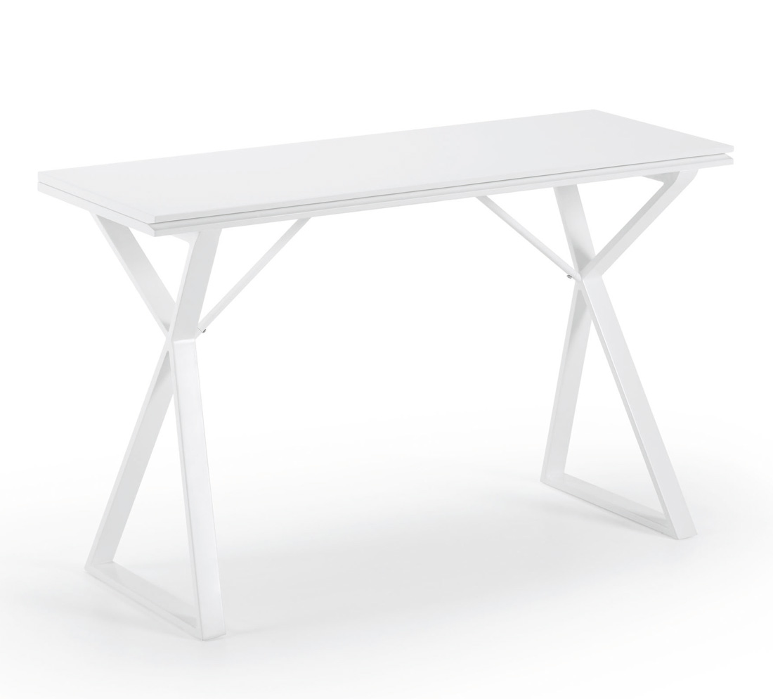 Mesa cocina blanca madrid for Mesa redonda extensible blanca