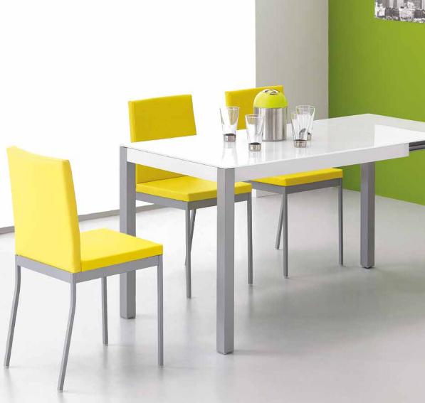 Mia home mesa coupe extensible patas cromadas for Mesa cocina moderna