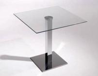 Mesa cuadrada pata central cristal transparente - Mesa cuadrada para central