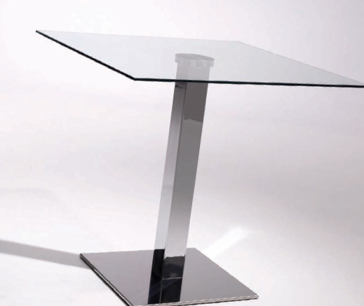Mesa cristal transparente cuadrada extensible para comedor for Mesas de comedor cristal transparente