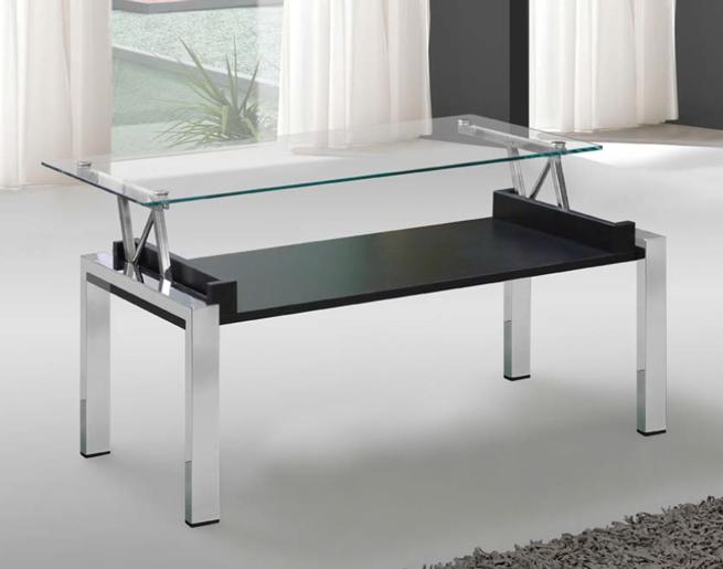 Mesa tapa cristal transparente negro - Mesas de salon de cristal ...