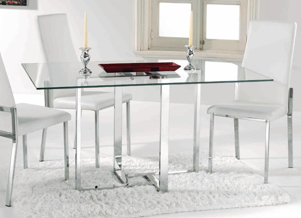 Mia home mesa de comedor fija patas metalicas - Patas mesa cristal ...